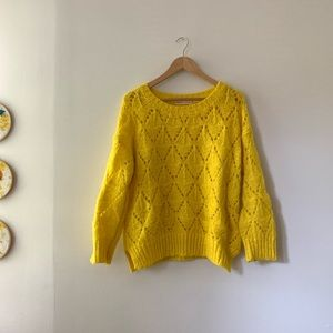 Anthropologie Bright Yellow Knit Sweater